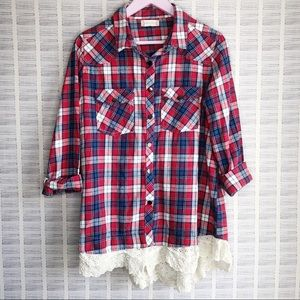 Altar'd State Red Plaid Lace Flannel
